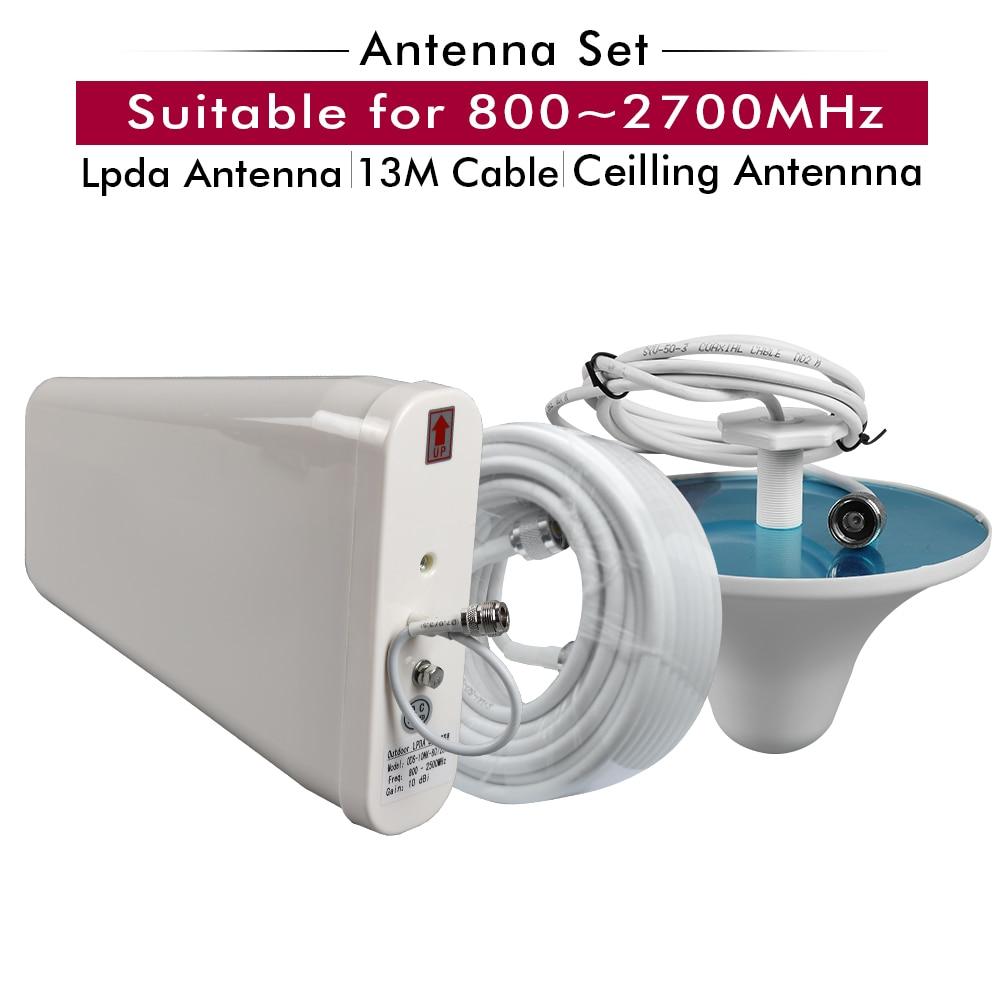 Antenne extérieure LPDA + antenne de plafond intérieure + accessoires de câbles blancs de 13 mètres réglés pour 800 ~ 2700 MHz 2G 3G 4G amplificateur de Signal Mobile
