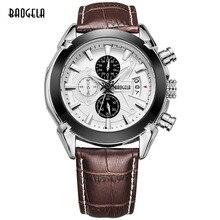 BAOGELA caliente marca hombre reloj de cuarzo analógico moda relojes hombres casual hora del cronógrafo de lujo luminoso reloj de pulsera de cuero masculina
