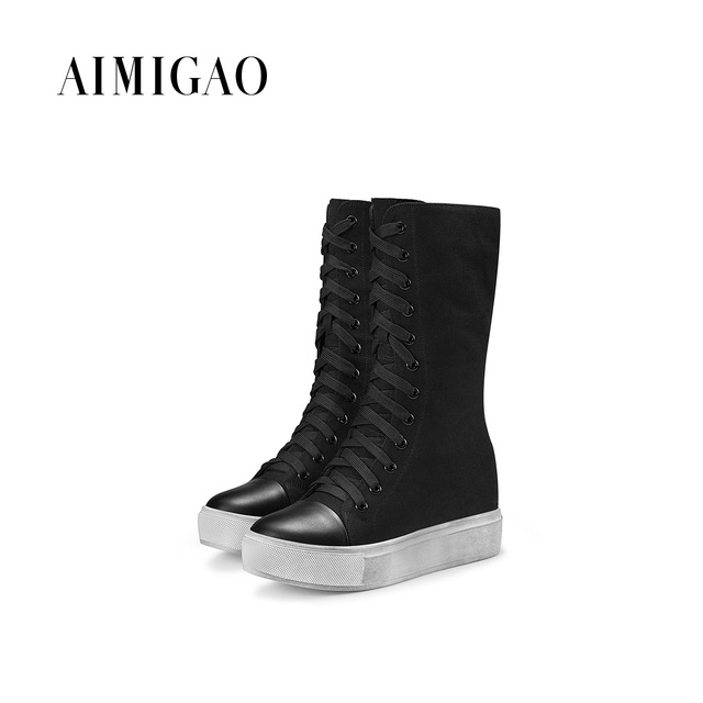 25daaad8ea1 AIMIGAO Canvas Flat platform boots women Fashion Lace-up work boots height  increased women side zipper casual boots comfortable