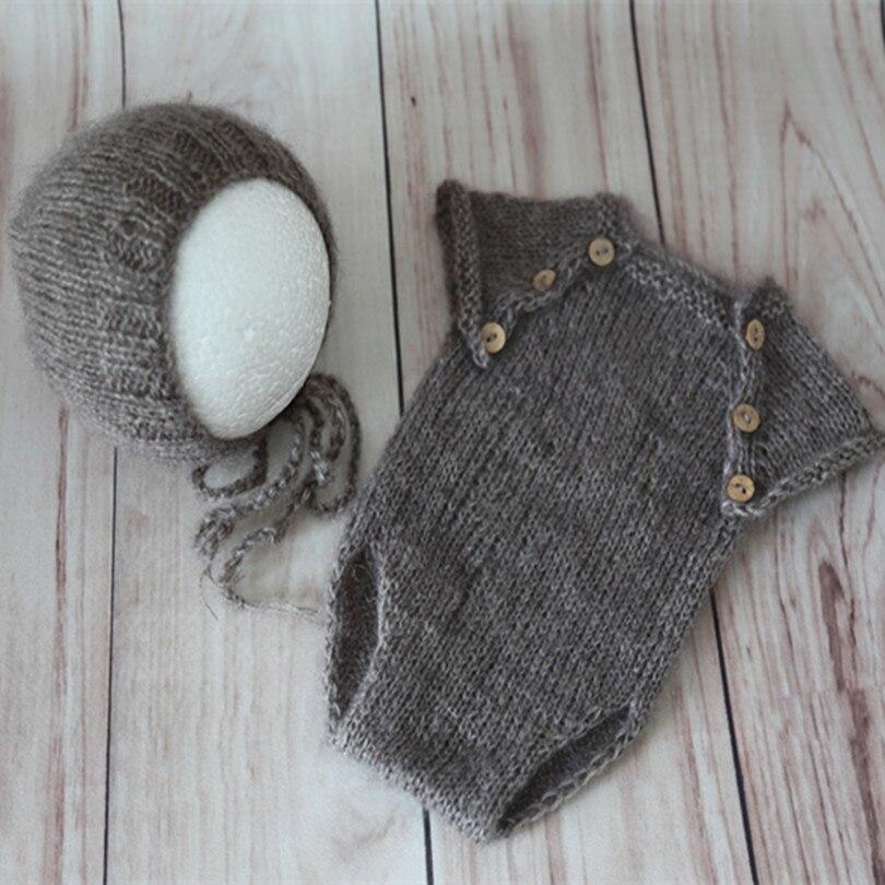 Vintage Knitted Beige Baby Romper Set Pattern Newborn Hat Prop Knit