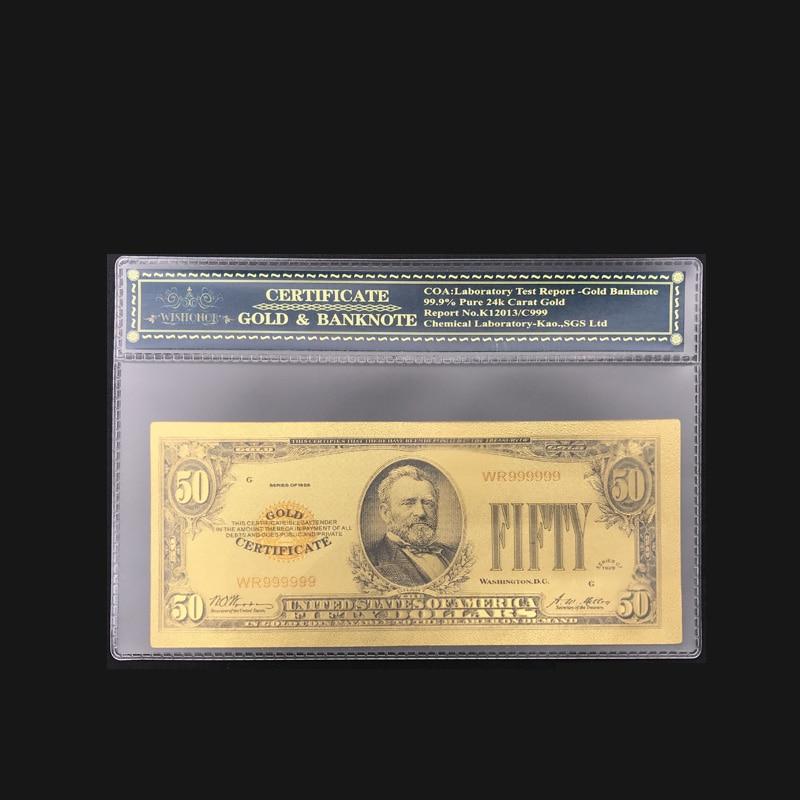 Золотая банкнота 24 К, купюр 1928 50 долларов США, купюр из золотой фольги на выбор, хороший подарок на сувенир с бесплатной пластиковой рамой