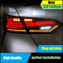 For Toyota Camry 2018 2019 LED Tail Light Assembly DRL+Dynamic Turn Signal+Brake+Reverse taillight Rear Lamp Light Car Styling