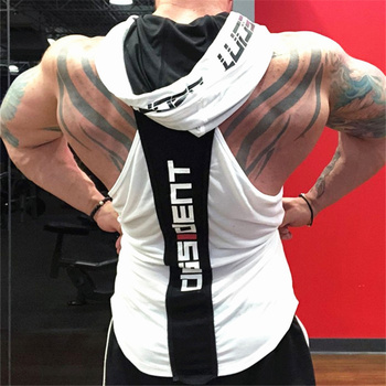 Men Tank Tops Gyms Clothing Fitness Sleeveless hoodies Vests Cotton Singlets Muscle Men Joggers vest Bodybuilding Clothing