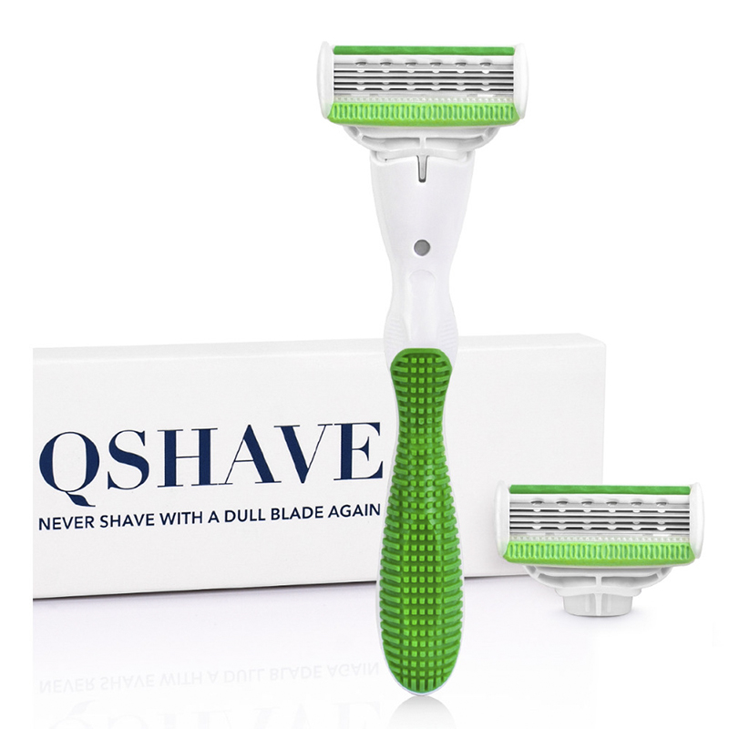 Qshave Green Series Lady Woman Shaving Razor Birthday Valentine Girl Sister Gift Hair Removal Epilator With 2pcs X5 USA Blade