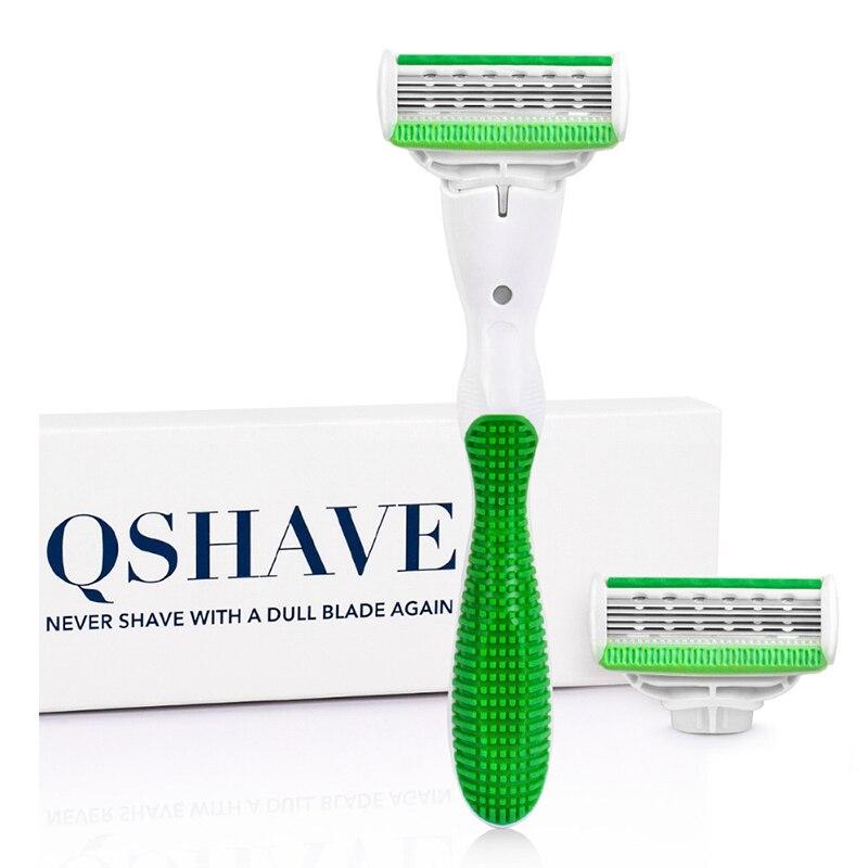 Qshave serie verde mujer dama maquinilla de afeitar cumpleaños San Valentín chica hermana regalo pelo eliminación depiladora con 2 piezas X5 EE. UU. hoja
