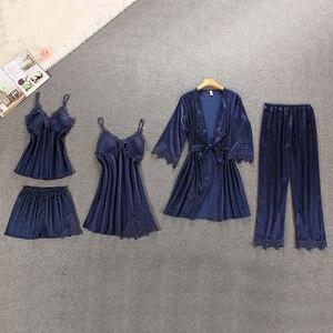 Image 2 - Women Pajamas 5 Pieces Satin Sleepwear Pijama Silk Home Wear Home Clothing Embroidery Sleep Lounge Pyjama with Chest Pads