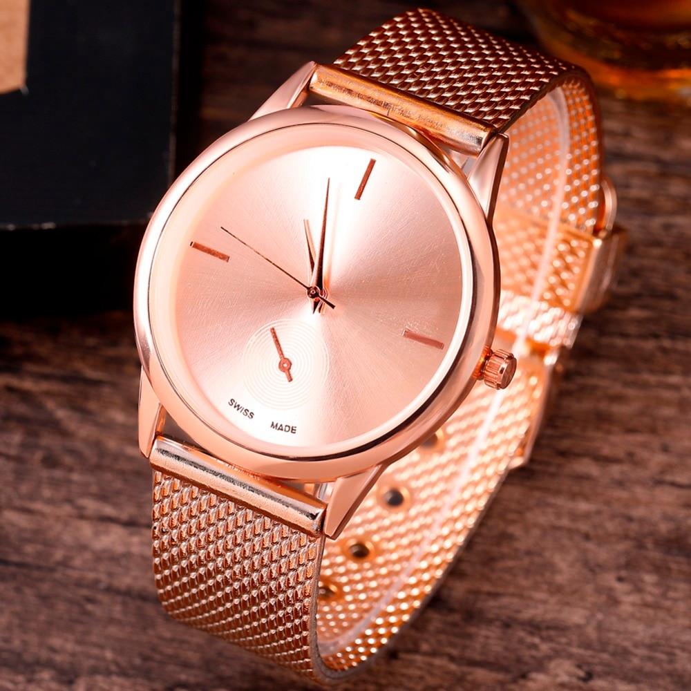 Womens Fashion Wach Female Clocks Women Luxury Quartz Watch Rose Gold Stainless Steel Dress Watches Relogio Masculino