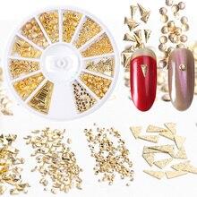 3D 1 коробка колеса золотой серебряный сплав цепь украшения ногтей заклепки Геометрические шик Маникюр DIY для ногтей смешанные аксессуары определенной формы LE773