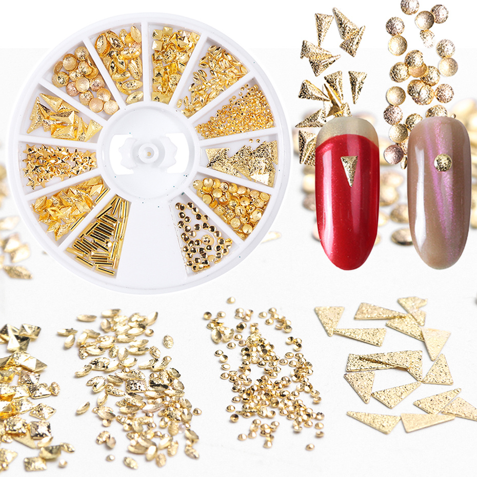 3D 1Box Wheels Gold Silver Alloy Chain Nail Decorations Rivet Geometry Chic Manicure DIY For Nails Mixed Shape Accessories LE773