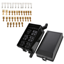цена на 6 Relays 6 ATC/ATO Standard Fuses Holder Block 12-Slot Relay Box with 41pcs Metallic Pins Universal for Automobiles Motorcycles