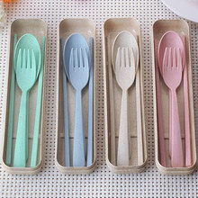 Creative Children Travel Tableware Portable Gift Box Wheat Stalk Student Chopsticks, Fork, Spoon Three-piece