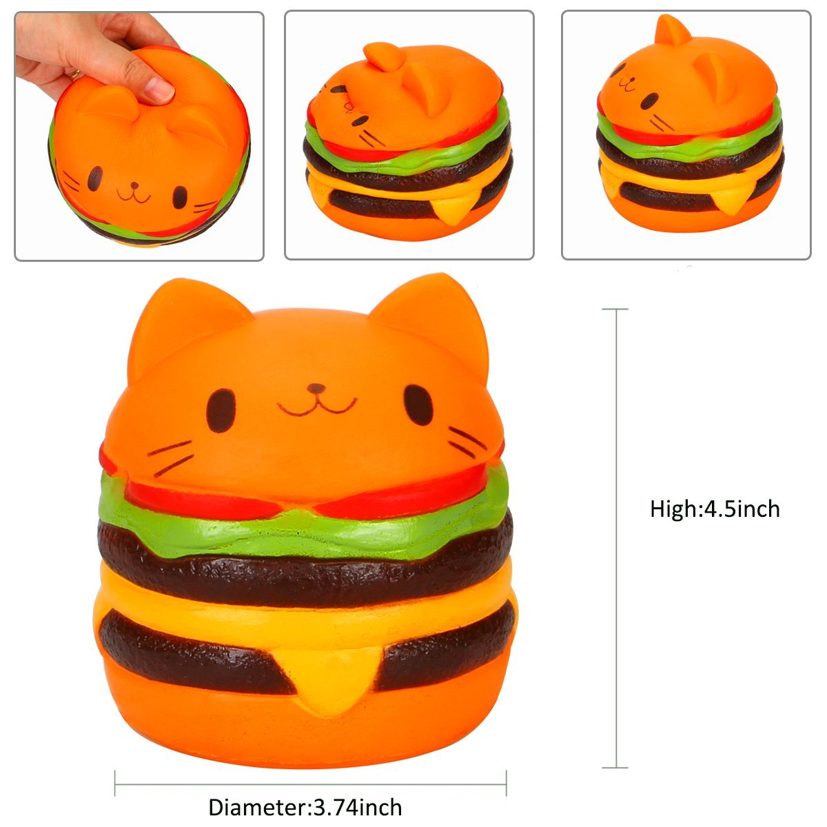 11CM Kawaii Jumbo Cartoon Squishy Cat Hamburger Phone Pendant Cute Slow Rising Squeeze Bun Bread Cake Kid Fun Toy Gift