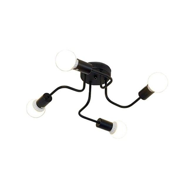 Ретро промышленные Лофт Nordic трубы кованого железа потолочный светильник 4 головки лампы для Домашний декор ресторан столовая кафе бар