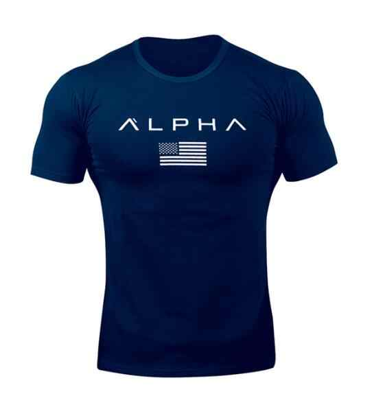 ALPHA  New Brand Clothing Gyms Tight T-shirt Mens Fitness T-shirt Homme Gyms T Shirt Men Fitness  Summer Top Tees