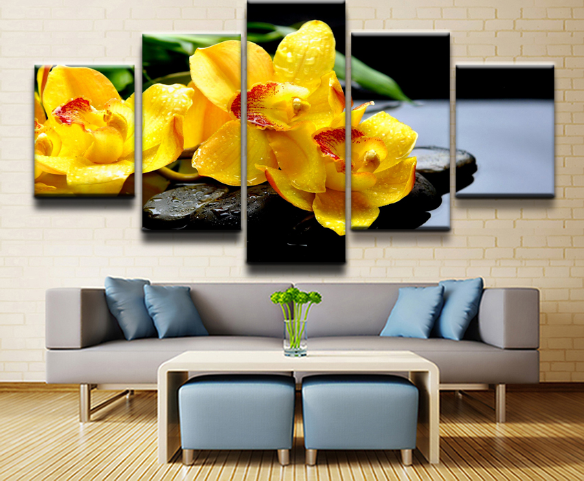 Canvas-Painting-Home-Wall-Art-Print-Pictures-5-Pieces-Flower-Orchid-Spring-Stone-Water-Yellow-Flower (1)