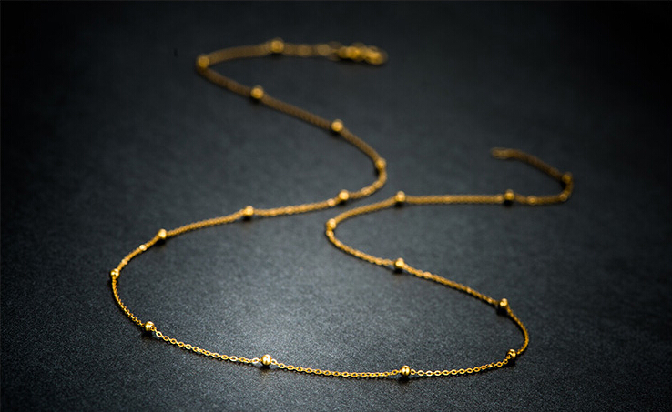 15 inch AU750 Yellow gold Beads chain Necklace chain 1.1g цена