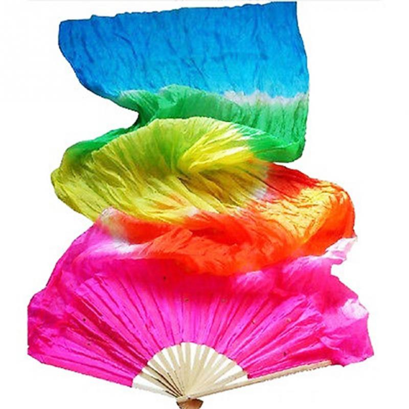 New 1.8m Hand Made Colorful Belly Dance Women Costume Bamboo Long Silk Fans Veil Silk Fan