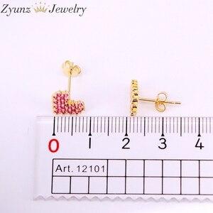 Image 5 - 10 par, 10*9mm, biżuteria ze złotym wypełnieniem kolczyki kształt serca wzrosła czerwony cz micro pave stadniny kolczyki