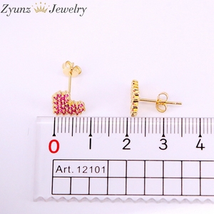 Image 5 - 10Pairs, 10*9mm, Gold filled Jewelry Earrings Heart Shape rose red cz micro pave Stud Earring