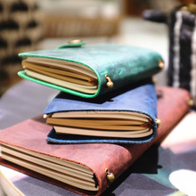 Joyful Idea Real Genuine Cowhide Leather Travel Journal Business Notebook Study Diary Kraft White Grid Papers