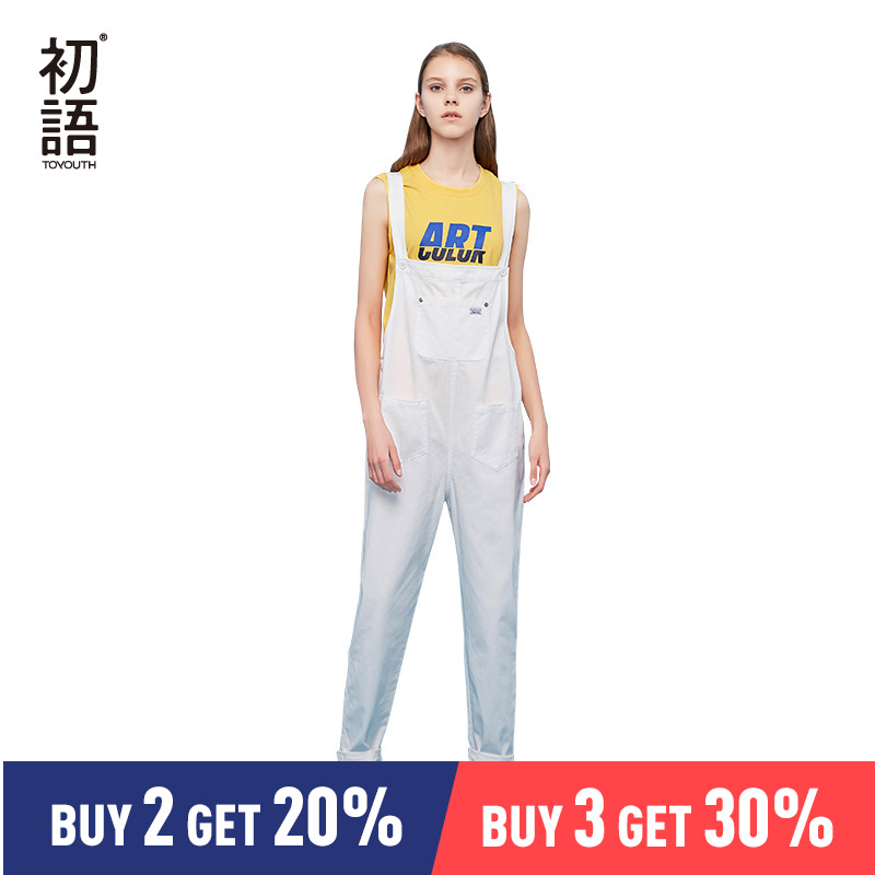 Toyouth Jumpsuits for Women 2019 Vintage Sleeveless Casual Loose Overalls Solid Cotton Playsuits Front Pocket Cute