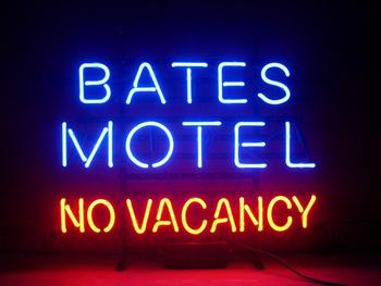 Bates Motel No Vacancy Glass Neon Light Sign Beer Bar