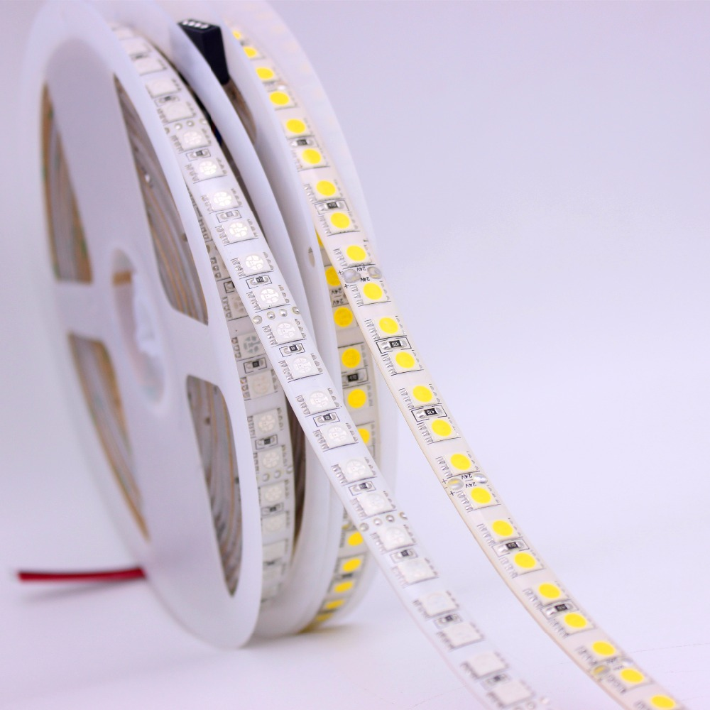12V  24V 5m 5050 LED Strip Light  120LEDs/M Non Waterproof RGB White Warm White  600 Led Stripe Flexible LED Ribbon Tape Lamp