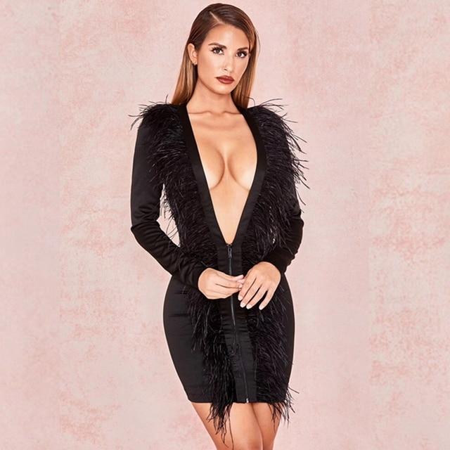 b09fd839d6c Fashion Sexy DeepV Neck Black Women Dress 2018 New Long Sleeve Tassel Solid  Bodycon Mini Clubwear Vestidos Verano Celebrity