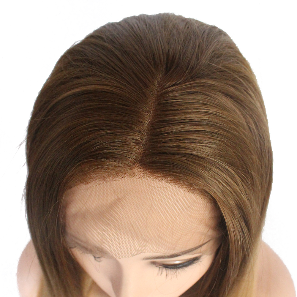 V Nice Natural Long Straight Dark Brown Ombre Honey Blonde Hair Wig
