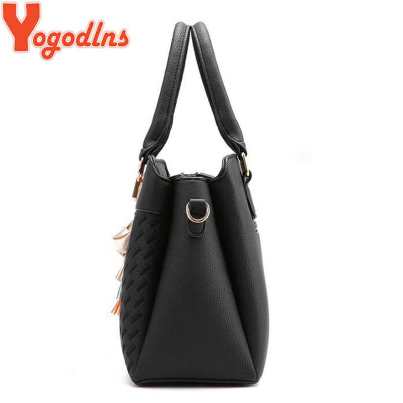 Yogodlns moda kobiety torebki Tassel torby tote ze skóry pu torba top-uchwyt haft Crossbody torba na ramię pani prosty styl