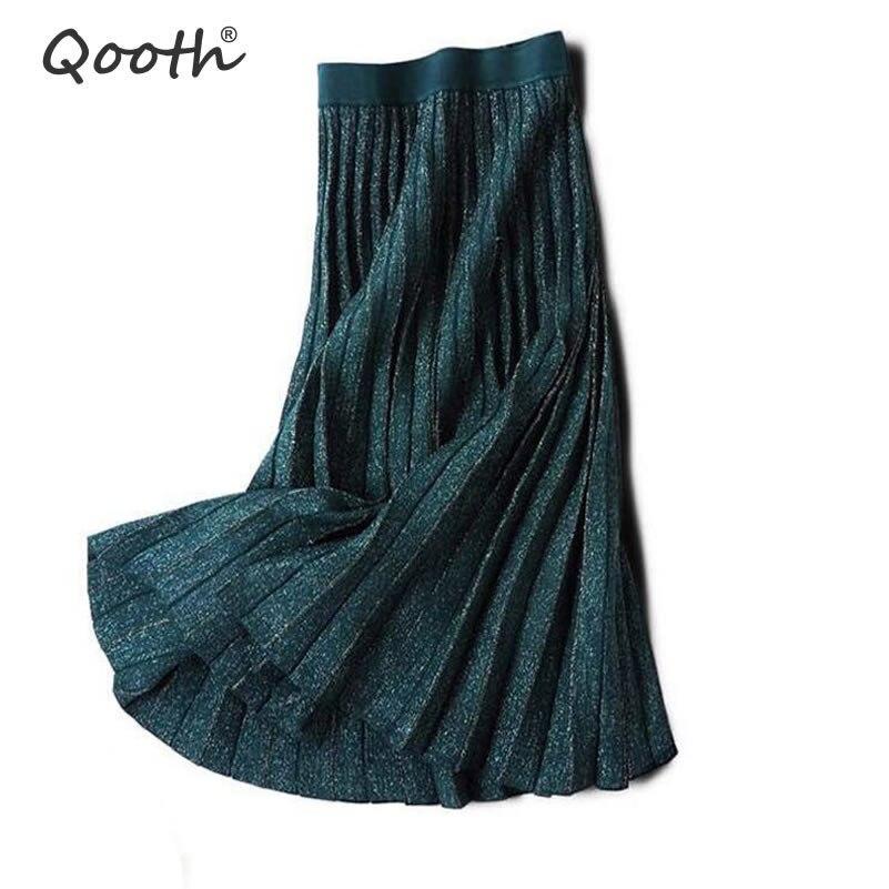 Qooth 2019 Spring Summer Sequins Elegant Female Pleated Skirts Elastic Waist Golden Thread Knitted Women Midi