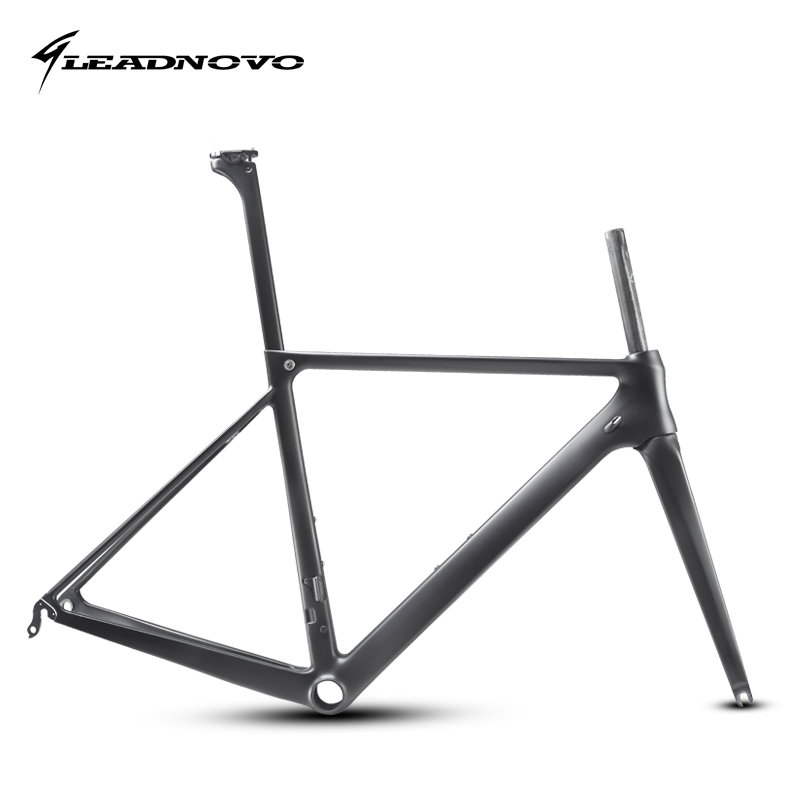 LEADNOVO T800 UD carbon road bike frame light weight racing bicycle frameset seatpost fork headset accept customized painted track frame fixed gear frame bsa carbon 1 1 2to 1 1 8 bike frameset with fork seatpost road carbon frames fixed gear frameset