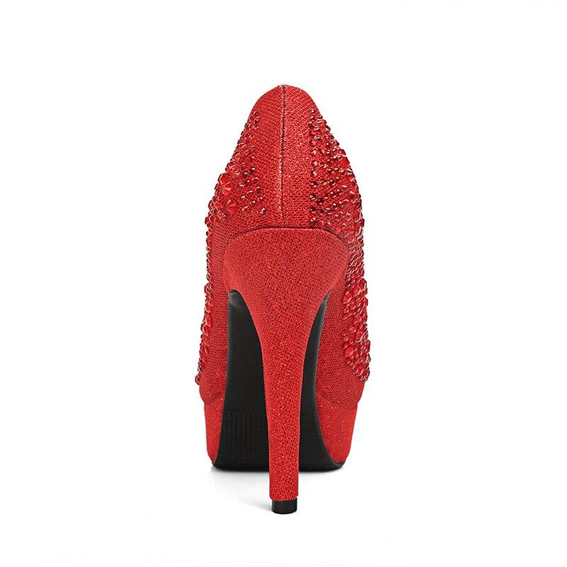 Mariée Pointu Talons Bureau Dame Marque De Karinluna Bling Femme Mariage rouge Qualité Bout Mince Hauts Chaussures Sexy Supérieure argent Top Femmes Or ZzPqPwg