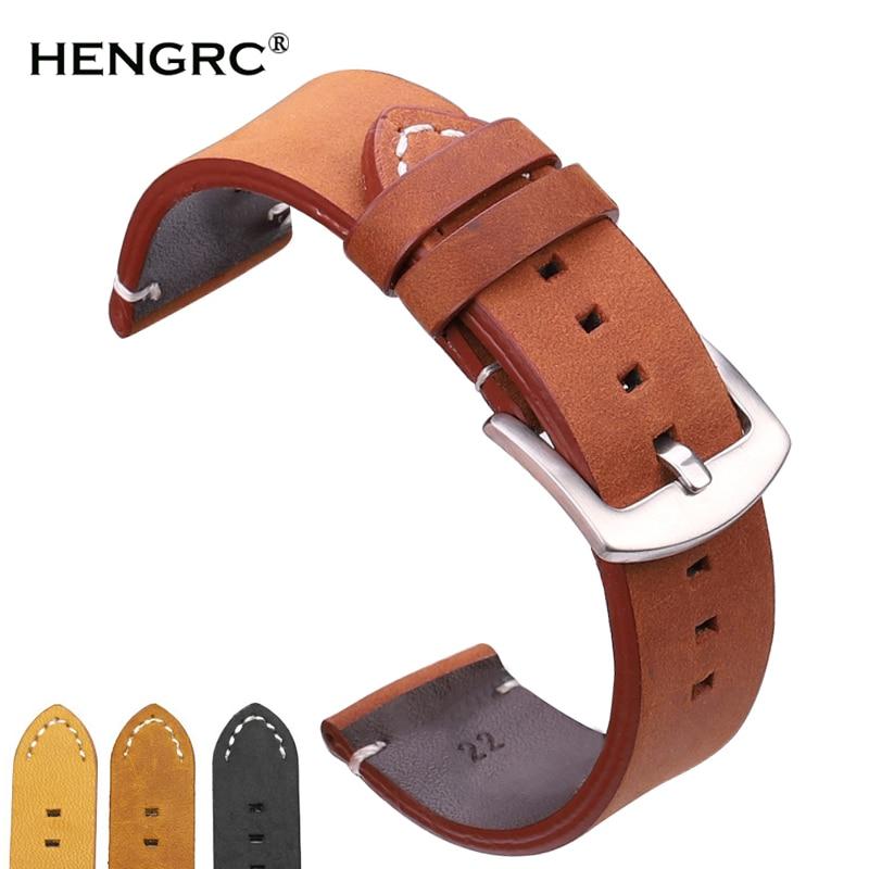 Watchbands 18 20 22mm Italian Genuine Leather Dark Brown Black Man Women Handmade Vintage Wrist Watch Band Strap Metal Buckle