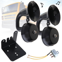 12V 24V 126DB Super Loud Dual Trumpet Air Horn Waterproof Dustproof Claxon Horns with Bracket /Relay No Need Compressor for Car