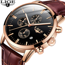 2019 New LIGE Fashion Casual Leather Mens Watches Top Brand Luxury Gold Clock Male Mliltary Waterproof Quartz Wristwatch For Men
