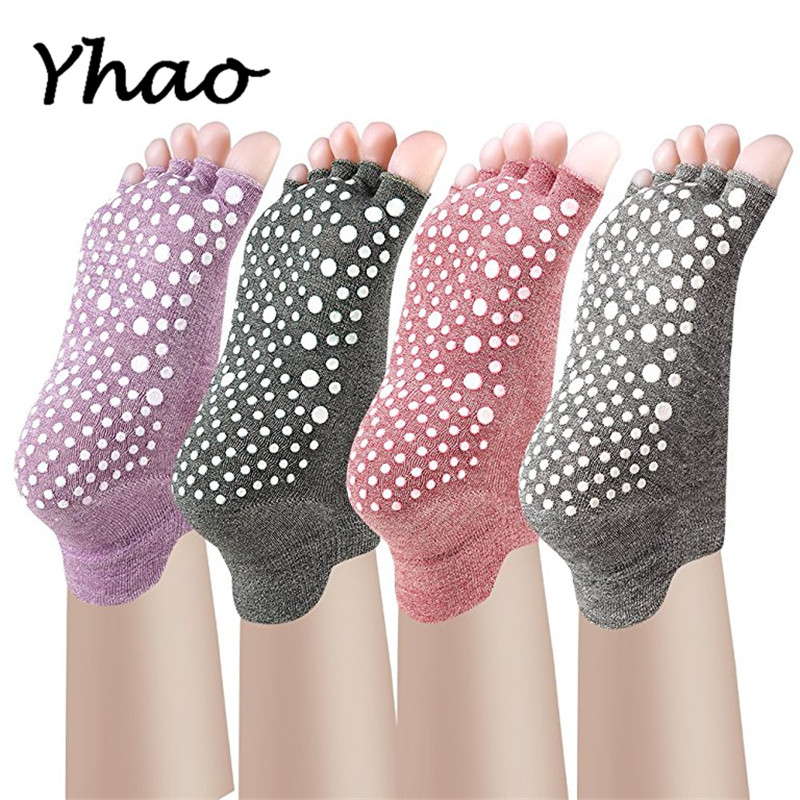 Yoga Toes Socks Non Slip Skid Pilates Barre with Grips for Women And Men Free Szie non slip toeless yoga socks with grip for women