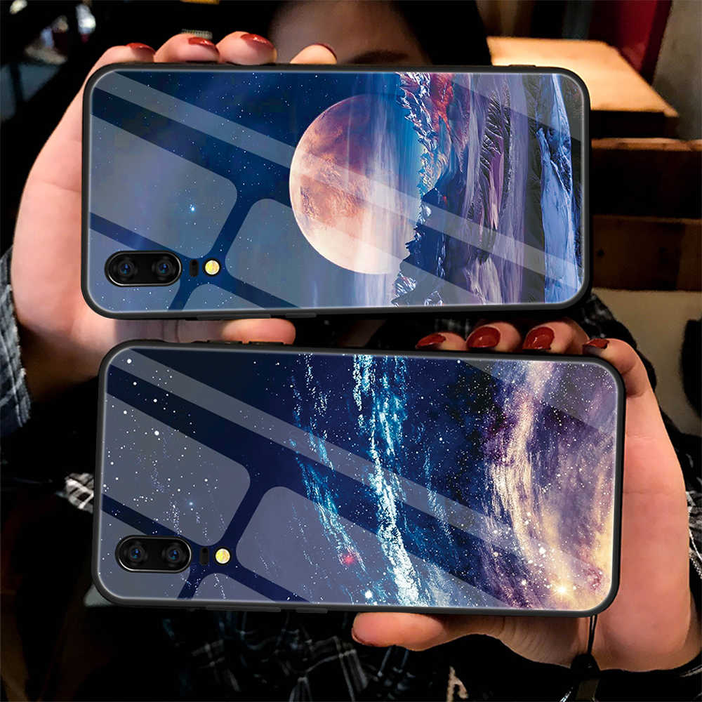 Tempered Glass Case For iPhone XS Max XR XS 7 8 6 6S Plus Silicone Stars Space Cover Phone Case For iPhone X 10 XS XR Cases TPU