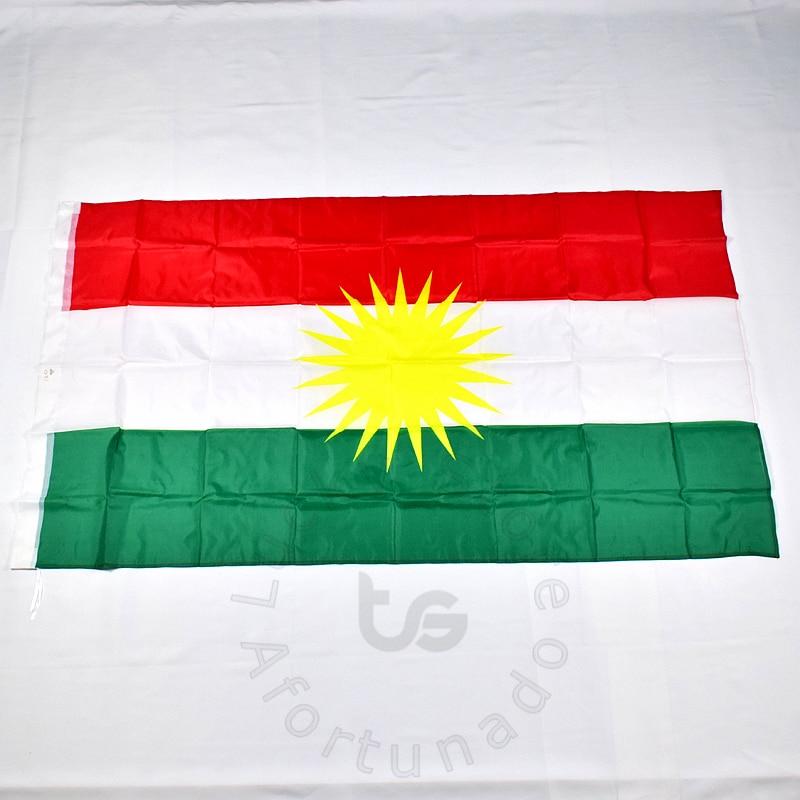 Քրդական դրոշ 90 * 150 սմ Քրդստանի դրոշ Քրդական պոլիեսթեր կախված դրոշ և բաններ 2 կողմերից Տպված Գլխավոր դրոշ