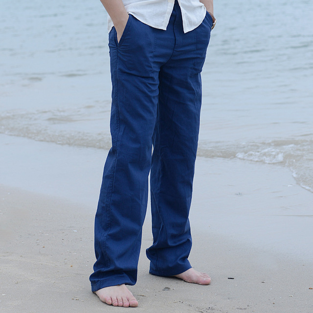 2019 Men's  summer Casual Pants New High Quality Natural Cotton Trousers Khaki Black Waist Rope Straight Pants male