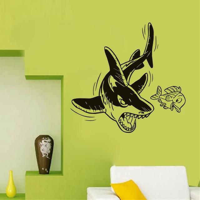 Funny shark to kill small fish vinyl wall decal home decor living ...
