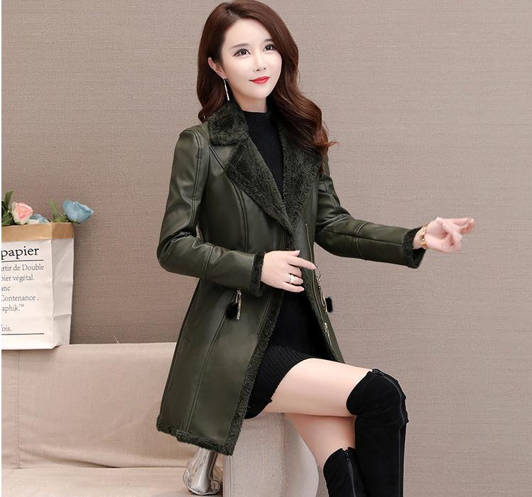 Womens Lapel Plus Velvet Pu   Leather   Jacket Winter Autumn Warm Double-Breasted Jackets Female Fashion   Leather   Outwear S/2Xl J2647