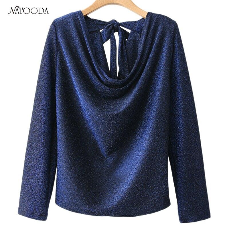 NATOODA 2018 Fashion Blouse Women Back With Knot Bow Tie V-Neck Blue Cross Sexy Shirts Long Sleeve Women Tops Blusas  XY2999