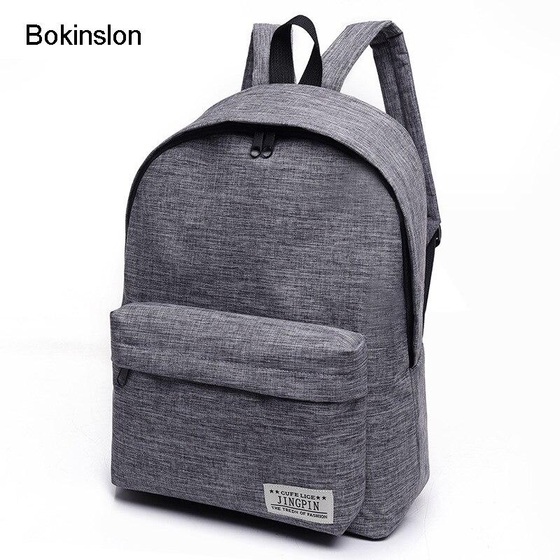Bokinslon Для женщин рюкзак Человек Популярные однотонные Цвет рюкзак для женщины школьная сумка Колледж ветер небольшой свежий моды Для мужчин рюкзак