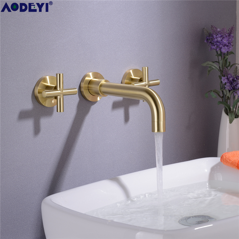 AODEYI Brass Double Handle Wall Mounted Bathroom Sink Faucet Hot Cold Basin Faucet Mix Tap Brushed