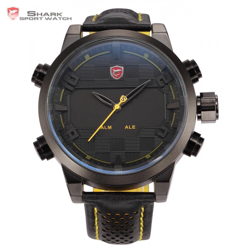 Prix pour Sawback Ange Shark Sport Montre Hommes Noir Jaune Numérique Double Mouvement 3D Logo Boîtier En Acier LED Montres En Cuir Montre-Bracelet/SH204