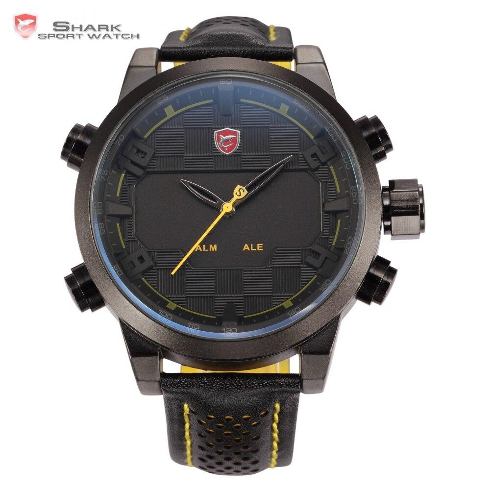 Sawback Angel Shark Sport Watch Mens Black Yellow Digital Dual Movement 3D Logo Steel Case LED Watches Leather Wristwatch /SH204 рюкзак case logic 17 3 prevailer black prev217blk mid