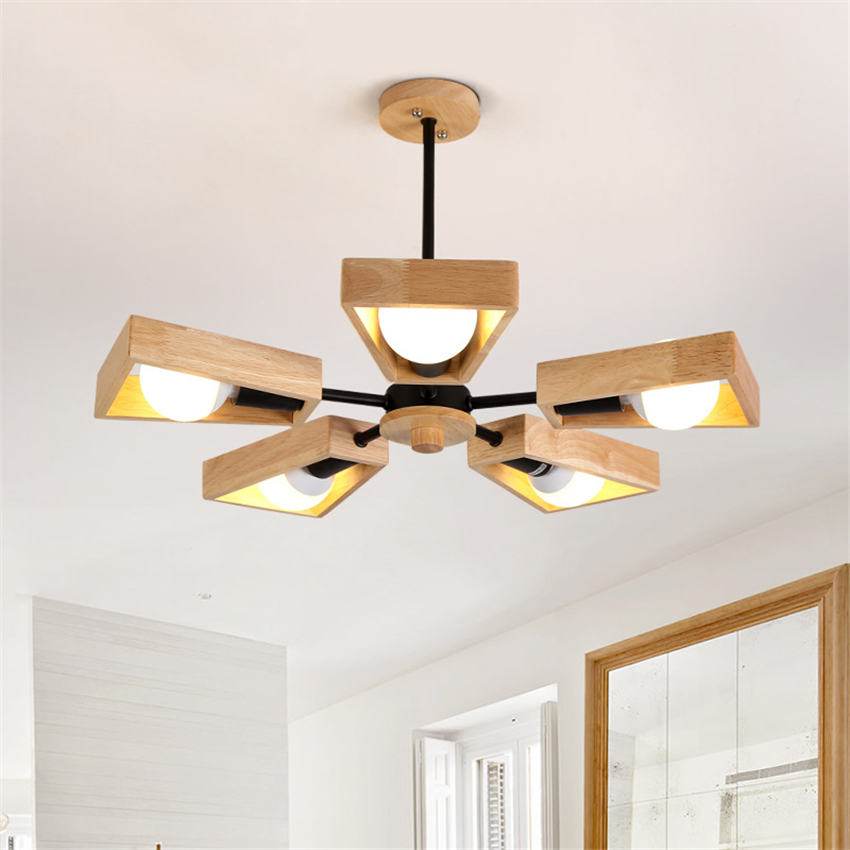 Nordic Modern Loft Light Wood LED Chandelier Bedroom Dining Room Hotel Pendant Lamp Lighting Decorative Hanging Lamp Suspension simple creative wood aluminum pendant light dining room bedroom lamp modern the tophams hotel cafe lighting pendant lamp