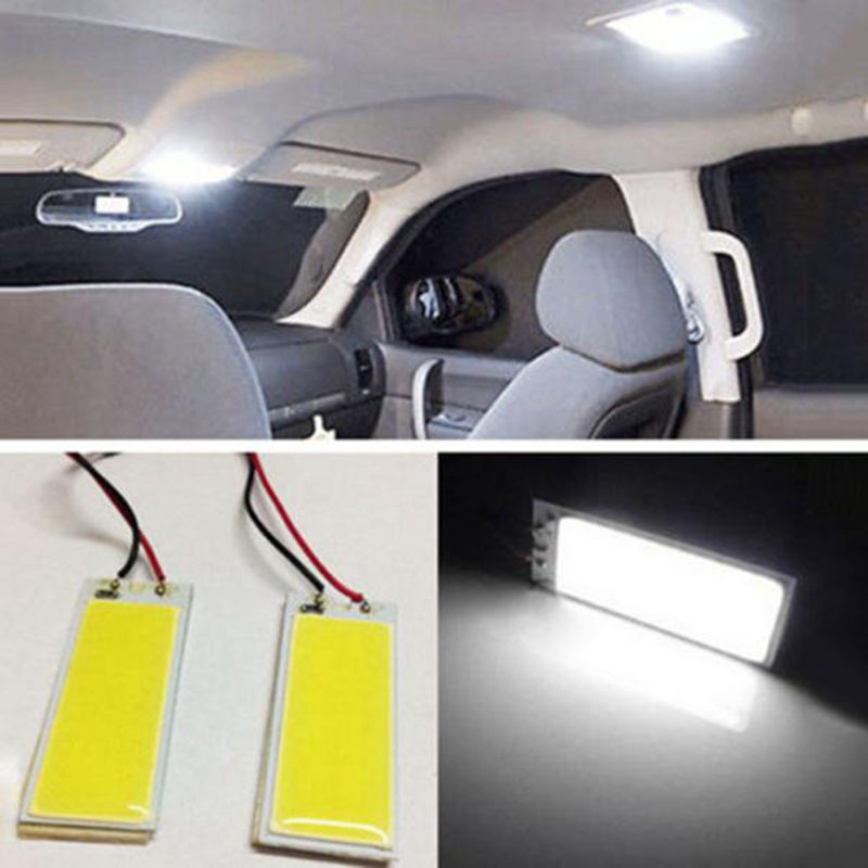 car styling 2pcs led Lights Xenon HID White 36 COB LED Dome Map Light Bulb Car Interior Panel Lamp 12V @11111 2pcs white red blue t10 24 smd cob led panel car auto interior reading map lamp bulb light dome festoon ba9s 3adapter dc 12v led