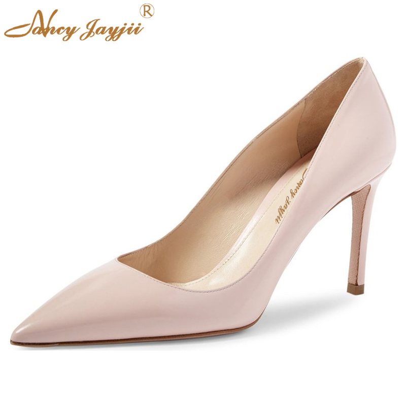 85 mm Simple Petent Leather Women Spring&Autumn Pointed Toe High Heels Pumps Shallow Shoes Woman Dress&Career&Office Nancyjayjii spring autumn shoes woman pointed toe metal buckle shallow 11 plus size thick heels shoes sexy career super high heel shoes